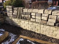 Garden wall, dry block mortarless concrete block system.