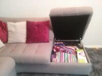 Corner sofa with storage