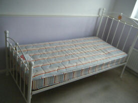 Childrens White Metal Frame Single Bed with Mattress from John Lewis