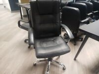black leather office chairs with armrests