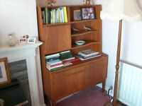 Mid century Teak Wall Unit , Bookcase display Cabinet RETRO 1960's