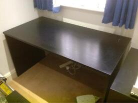 Large black desk with optional shelf