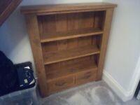 Solid Wood 2-Drawer Video & DVD Bookshelf Cabinet