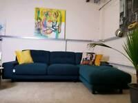 Habitat Hendricks Brand new corner sofa in Teal green wool RRP £2600