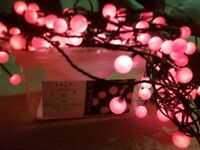 Red cherry LED lights suitable for indoor or outdoor use complete with transformer