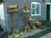 Hand made solid bird tables