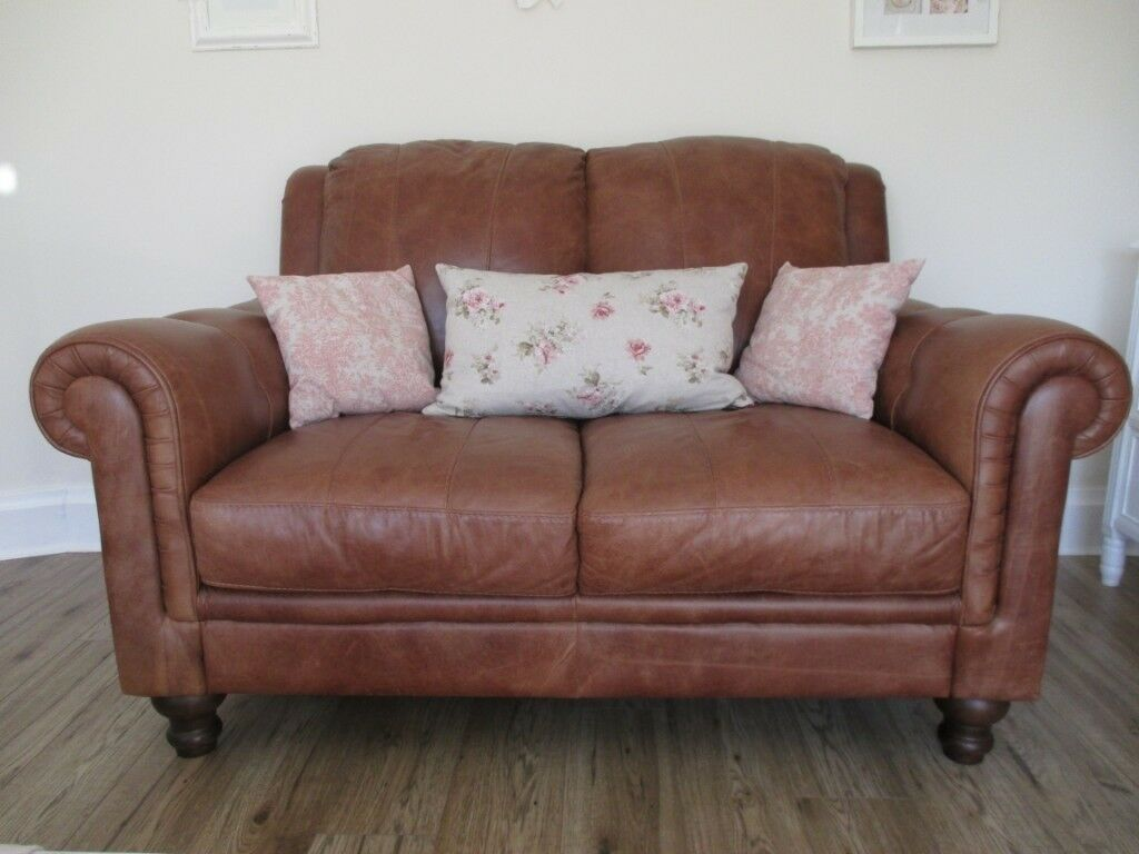 Two Seater Tan Leather Sofa In Pristine Condition Similar