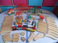 HUGE Bundle 80+ Wooden Train Track - Trains Bridges 8 way Turntable Points - BARGAIN £30 - CAN POST