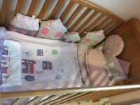 Beautiful cot bumper and matching bedding /sleeping bag