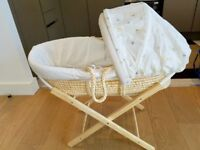 Mothercare Mosses basket with Stand, PLUS FREE Pampers size 1 - 66 pack (unopened)