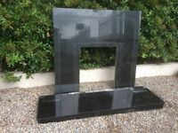 Stunning Black Granite Marble Hearth & Fire Back Plate Delivery