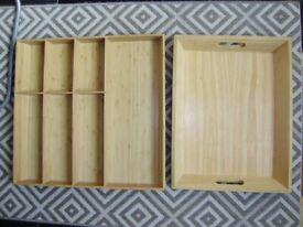 Cutlery tray x 2, solid wood, unused, £20 each