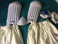 Junior cricket pads and whites