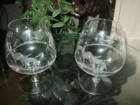 Brandy glasses,2 Stuart balloon glasses etched with dog & pheasant scene.lov