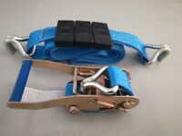 NEW Trailer Car Transporter Recovery Ratchet Straps Blue - Set of 4