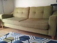 4 seater sofa DFS pistachio green