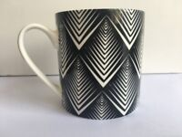 Fine China Mug - 6 x Waitrose Monochrome Diamond China Mug