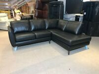 DFS AURORA BLACK REAL LEATHER CORNER SOFA CHAISE END RIGHT HAND SIDE ANGLE L SHAPE FREE DELIVERY