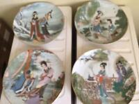 Set of 4 Oriental china plates