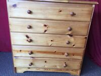 SOLID PINE CHEST OF 5 DRWAERS,CAN DELIVER