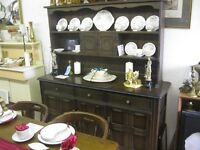 ORNATE OAK & ELM WELSH DRESSER. TOP DETACHABLE. IDEAL AS IS, OR PAINTED.VIEWING/DELIVERY AVAILABLE