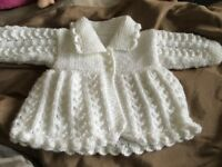 Girls hand knitted cardigan 0-3 months