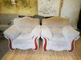 2 cream matching chairs