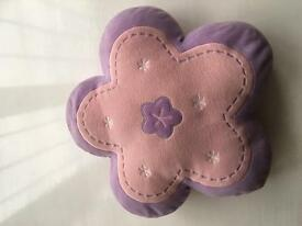 Pink and purple flower cushion