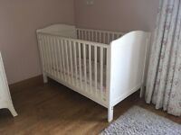 2 White cot's and 1 mattress for sale