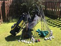 Adult and Junior Golf Clubs with Junior Trolley
