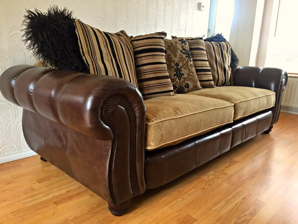 Henley Mayfair Leather And Fabric 4 Seater Sofa Tetrad