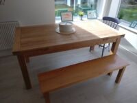 solid oak table and bench