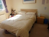 Beech Double Bed with matching Bedside Tables