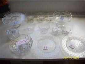 VINTAGE GLASS WARE, CAKE STAND/3 DIVISION BOWL/POWDER BOWL/SANDWICH PLATES/