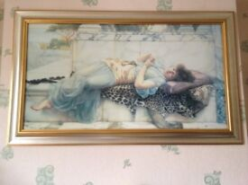 Print Of Lady in Gold wood frame