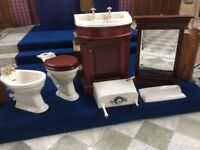 Beautiful Classic 'Heritage' Toilet Suite' Toilet, cistern, Bidet, Sink and Sink Cabinet and Mirror