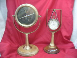 Vintage Nautical Decor Compass & Clock Mantle / Desk Display #2894