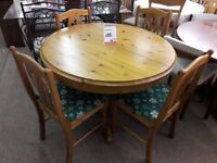 Light Wood Round Dining Table And 4 Chairs