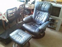 Black Gaming Chair and Stool