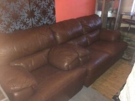 2 seater and single seat brown leather settee