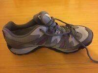 Size 5 Salomon Goretex shoe. Grey with purple stitching