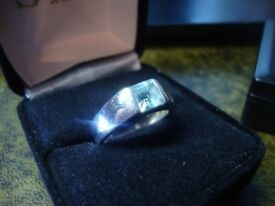 Stirling Silver Ring Square cut Blue Topaz Size