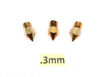 3 Qty .3mm 3d Printer Nozzle For Mk7 Mk8 Makerbot Reprap 1.75mm Abs Pla