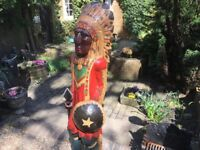 Hand Carved Red Indian