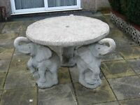 Concrete Table with Elephants