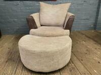 FABRIC CUDDLE ARMCHAIR WITH FOOTSTOOL IN GOOD CONDITION
