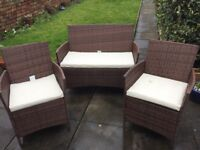 Garden furniture rattan 2 seater sofa and two easy chairs