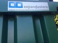 Expandastore 4m x 2.1m Storage Container. Galvanised & Powder coated green, special order side door.