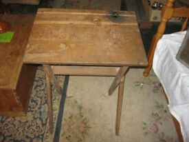 VINTAGE WOODEN FOLDING CHILDS SCHOOL DESK. GREAT FIND. VIEWING/DELIVERY POSSIBLE