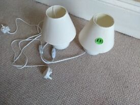 Pair of lamps for sale. Cream coloured base & shade.